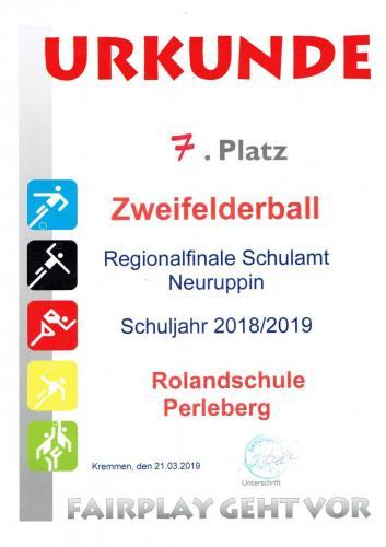 Urkunde Zweifelderball
